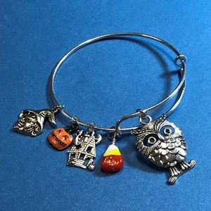 Halloween Owl Adjustable Silver Bangle Bracelet